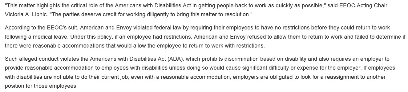 Two New EEOC Disability Discrimination Cases – Reasonable