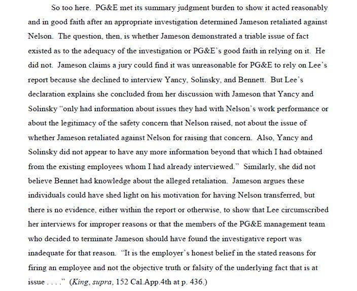 Jameson v. PG&E - employment termination investigation case 11042017-1